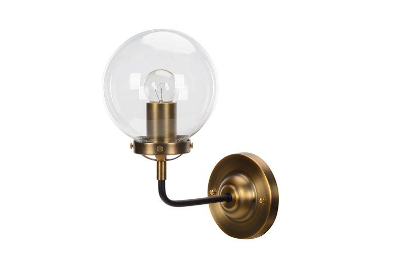 Kinkiet Lampa Ścienna MORED 1 Złota Czyste Szkło