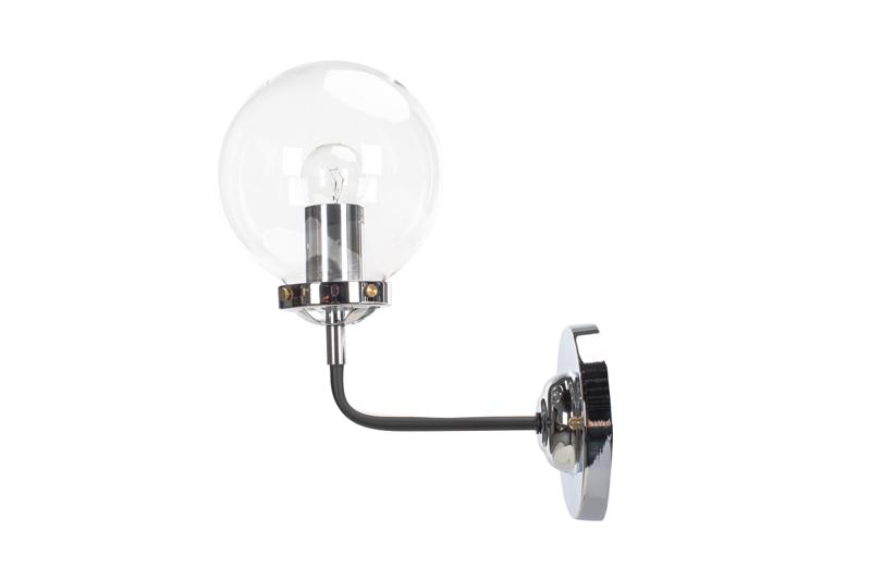 Kinkiet Lampa Ścienna  MORED 1 Chromowana Czyste Szkło